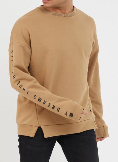 XHAN Gül Kurusu Baskılı Yumuşak Dokulu Sweatshirt 1Kxe8-44485-65 Bej